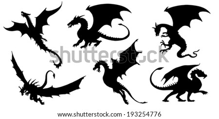 dragon silhouettes on the white background - stock vector