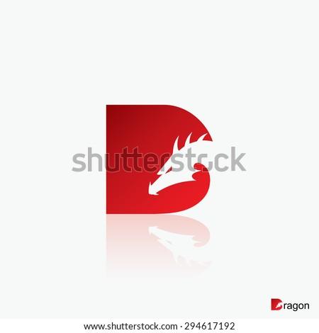 "Dragon symbol - capital letter ""D"" - vector illustration - stock vector"