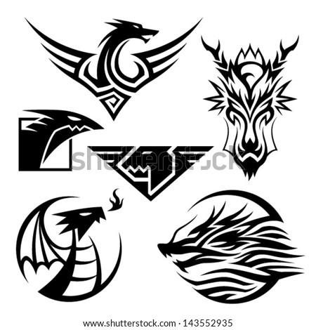 Dragon Symbols 6 Different Dragon Symbols Stock Vector 2018
