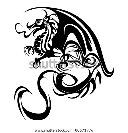 dragon tattoo - stock vector
