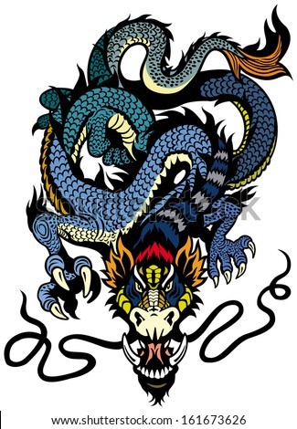 dragon tattoo front view illustration isolated on white background - stock vector