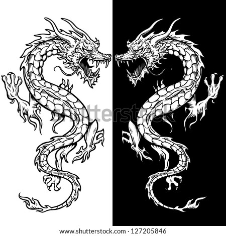 dragon tattoo in black and white. There is 2 dragons for visual reference in relation to their backgrounds. - stock vector