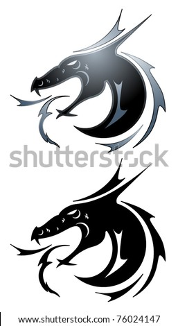 Dragon tattoo symbol in black and silver - stock vector