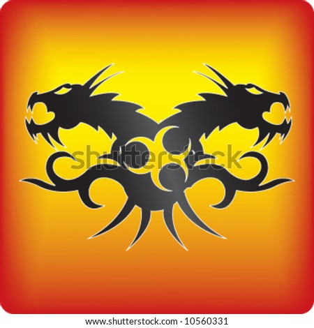 dragon tattoo vector - stock vector