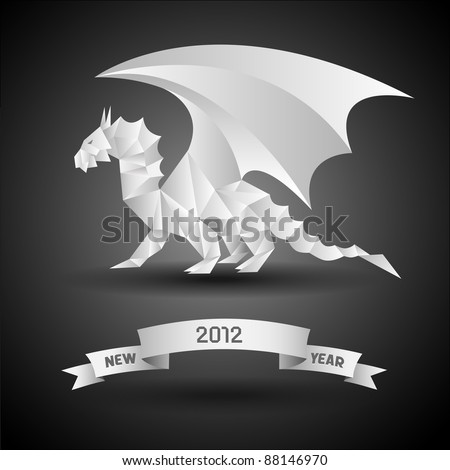 Dragon with banner New Year 2012. Vector origami. - stock vector