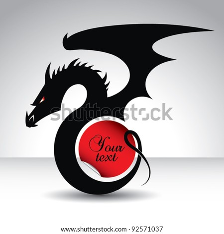 Dragon with circle shaped text place - vector card for year 2012 - year of the dragon - stock vector