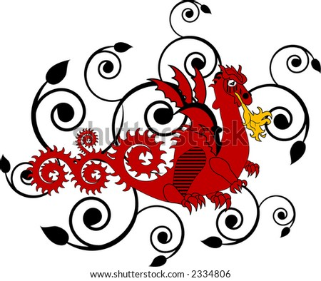 dragon with fire and filigree - stock vector