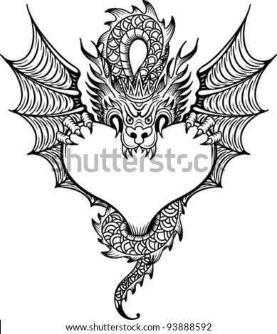 dragon with heart - stock vector