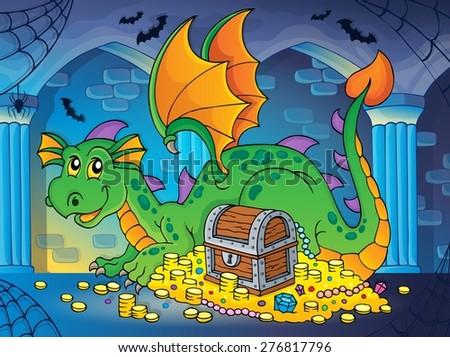 Dragon with treasure theme image 2 - eps10 vector illustration. - stock vector