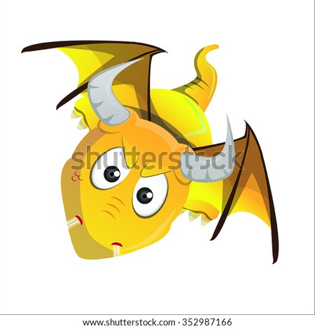 Dragon Yellow Flying With Horns, Wings and Tail Cartoon Vector - stock vector