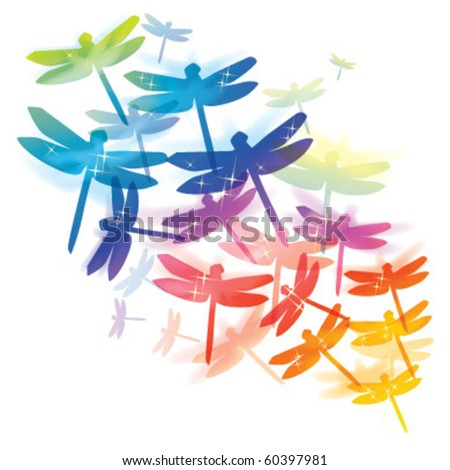 dragonfly colorful design - stock vector