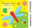 dragonfly garden - stock vector