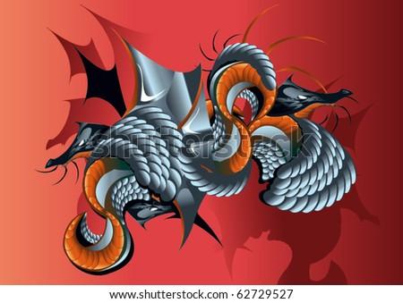 dragons - stock vector