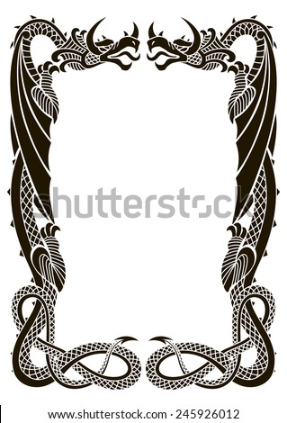 dragons frame ornament isolated on white background in the proportion of a 4 format - Dragon Frame