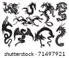 Dragons. Vector illustration - stock photo