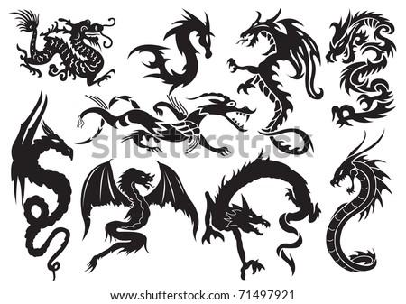 Dragons. Vector illustration - stock vector