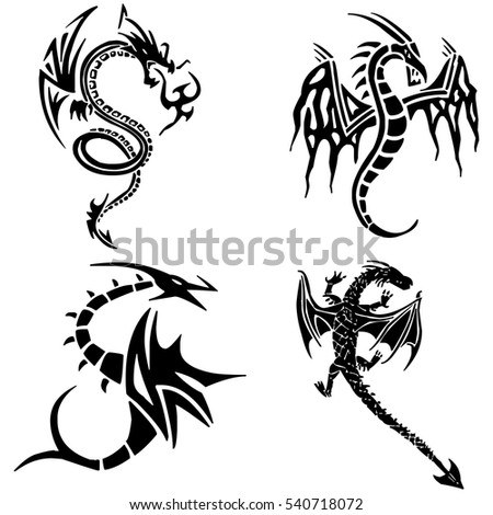 Dragons. Vector illustration.Stylized image of Dragon in black and white.