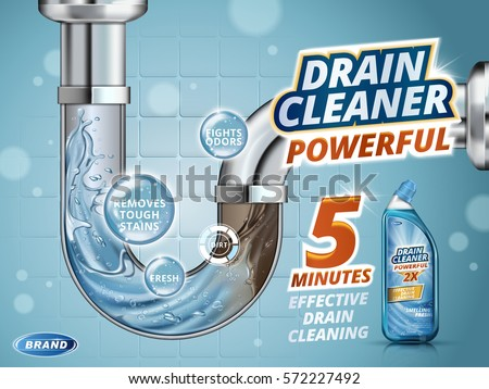 Drain cleaner ads, before and after effect in drain pipe, realistic detergent bottle isolated on blue background in 3d illustration
