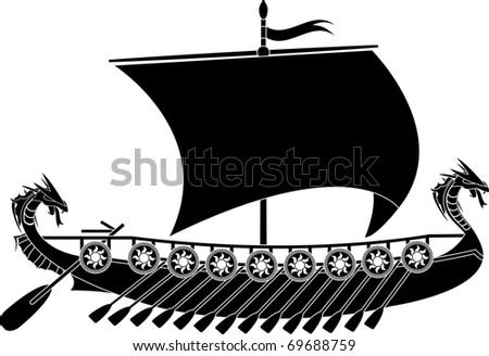 drakkar viking. stencil. vector illustration - stock vector