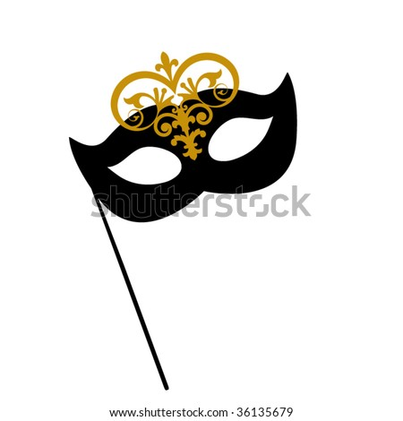 drama mask with stick - stock vector