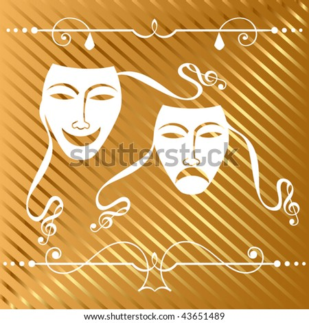 drama masks (left mask straps can be adjusted) - stock vector