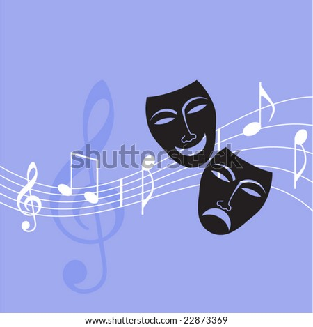 drama masks with musical notes - stock vector