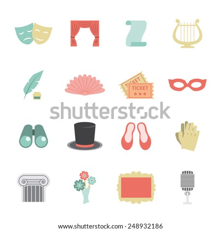 Drama opera theatre performance icon flat set with scene symbols isolated vector illustration - stock vector