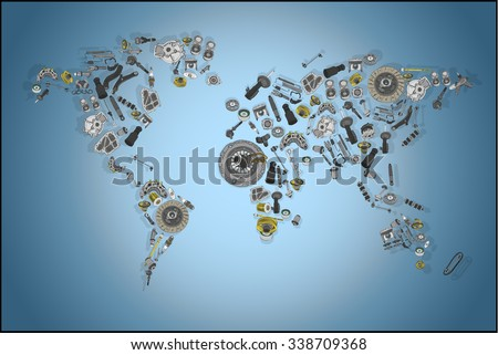 Draw map world made spare parts vectores en stock 338709368 draw a map of the world made up of spare parts spare parts for shop gumiabroncs Choice Image