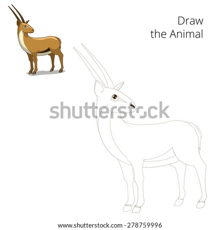 Draw animal gazelle educational game vector illustration - stock vector