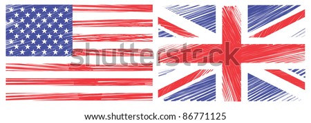 Draw Flag of the United States and united kingdom on a whiteboard. Vector template - stock vector