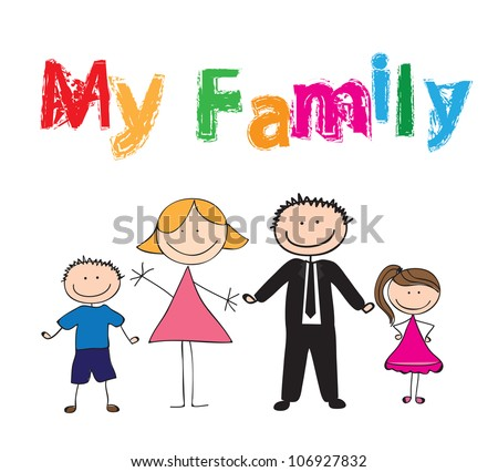 Draw of family with colors, vector illustration - stock vector