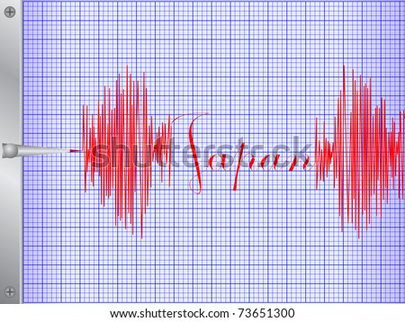 draw of seismometer - stock vector