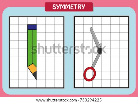 Draw Other Half Each Symmetrical Pictures Stock Vector HD (Royalty ...