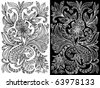 drawing abstract floral pattern ink - stock vector