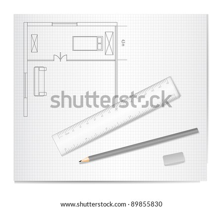 Drawing Architecture Sketch - stock vector
