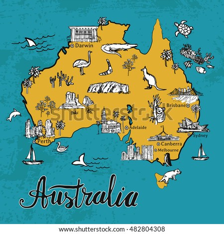 Drawing Australia Vector Map Hand Drawn Stock Vector (Royalty Free ...
