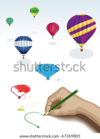 Drawing balloons - stock vector