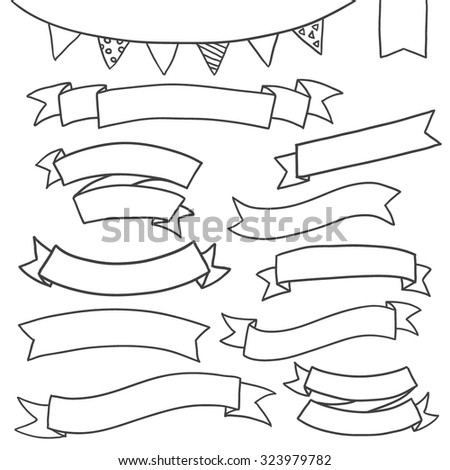 Drawing Banners and Labels collection./ Banners and Labels./ Tags, Banners and Labels - stock vector