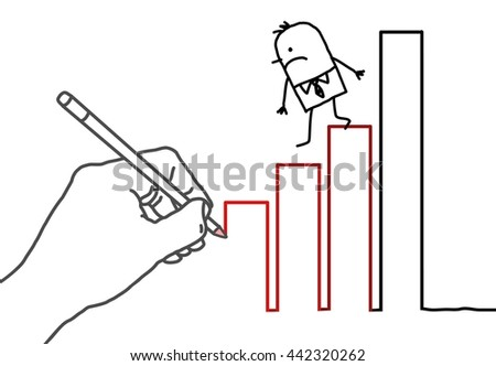 Drawing big hand and  businessman - climbing down - stock vector