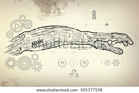 Drawing blueprint robot hand scientific interface stock vector drawing blueprint of robot hand scientific interface futuristic backdrop abstract technology background malvernweather Images