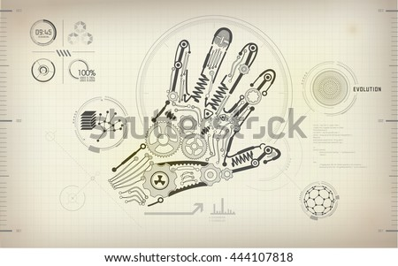 Drawing blueprint scientific hand robot hand stock vector 444107818 drawing blueprint of scientific hand robot hand diagram mechanic human hand abstract technology malvernweather Images