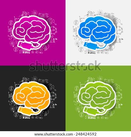Drawing business formulas: brain - stock vector