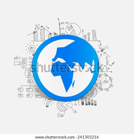 Drawing business formulas: globe - stock vector