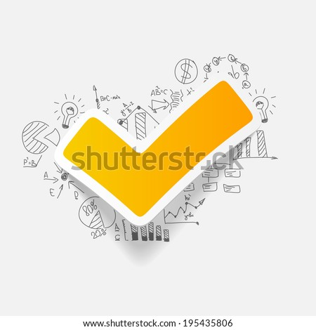 Drawing business formulas: tick - stock vector