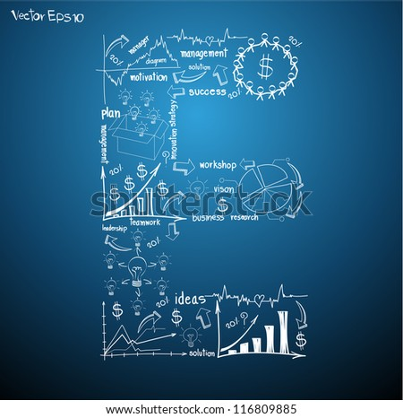 Drawing business plan concept diagrams of alphabet letters ( E ) Vector template design