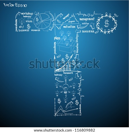 Drawing business plan concept diagrams of alphabet letters ( T ) Vector template design