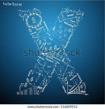 Drawing business plan concept diagrams of alphabet letters ( X ) Vector template design - stock vector