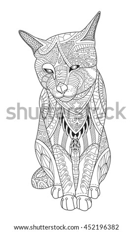 Drawing cat for the coloring book for adults. Vector illustration in zentangle style. Isolated on white background. - stock vector