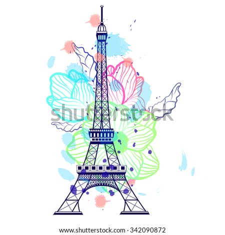 Drawing color Eiffel Tower in Paris, France. Flower background - stock vector