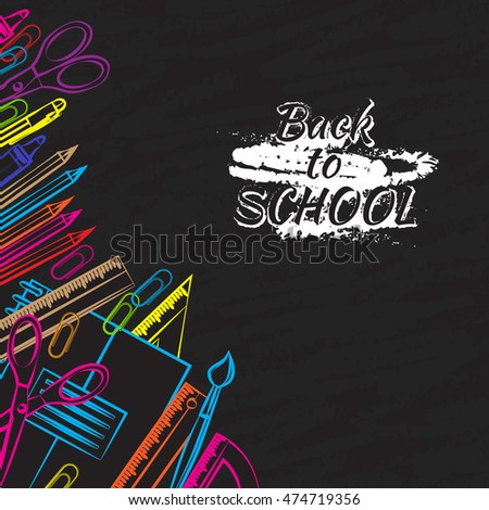 Drawing colored school supplies. Back to school. Education concept. Vector illustration.